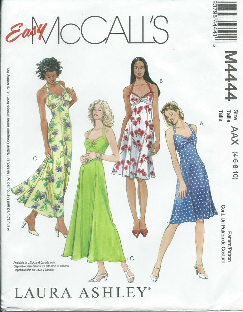 M 4444 sewing pattern Laura Ashley HALTER DRESS Sundress Bride Prom ...