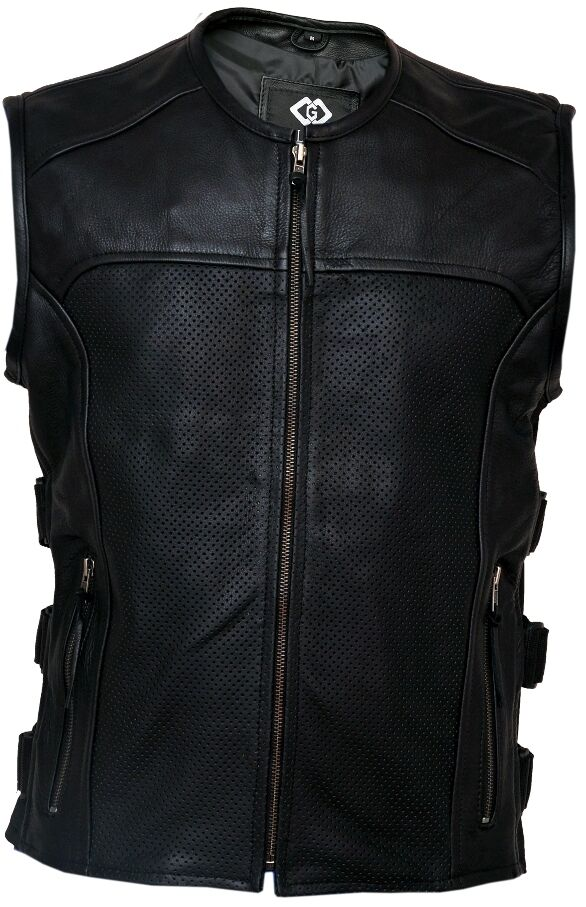 Mens Cut Off Motorcycle Waistcoat Cowhide Leather Black Biker Vest Jacket Coats & Jackets