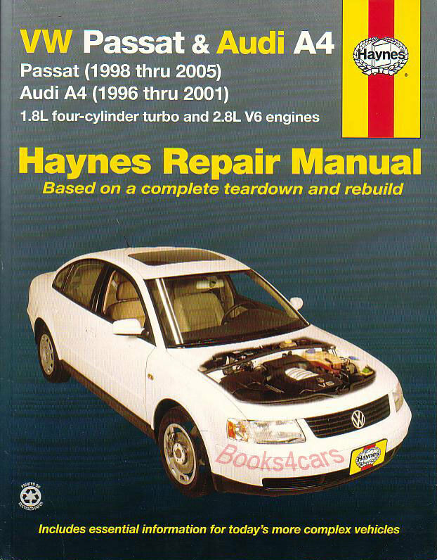 shop manual service repair book audi a4 volkswagen passat haynes chilton ebay. Black Bedroom Furniture Sets. Home Design Ideas