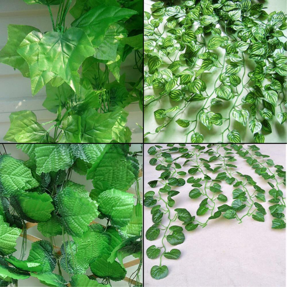 7 6ft artificial faux ivy vine silk leaves green plants for Artificial leaves for decoration