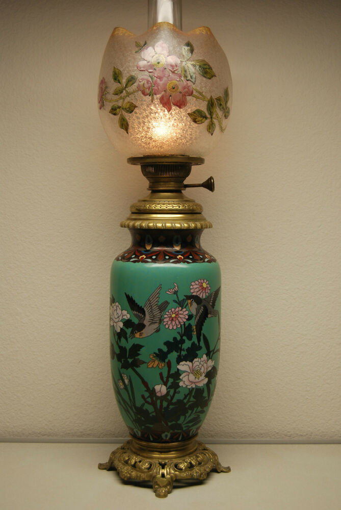 ANTIQUE FRENCH BACCARAT CLOISONNE ENAMEL ART NOUVEAU OLD OIL KEROSENE GWTW LA