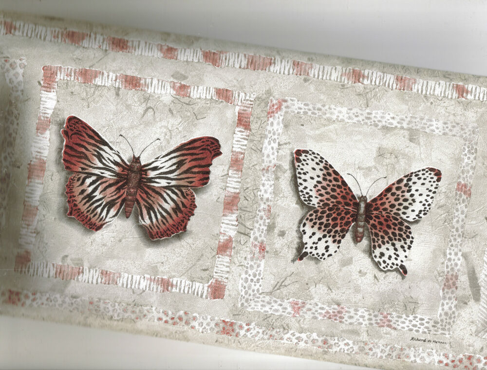 Butterflies wallpaper border with jungle print wings muted for Butterfly wallpaper border