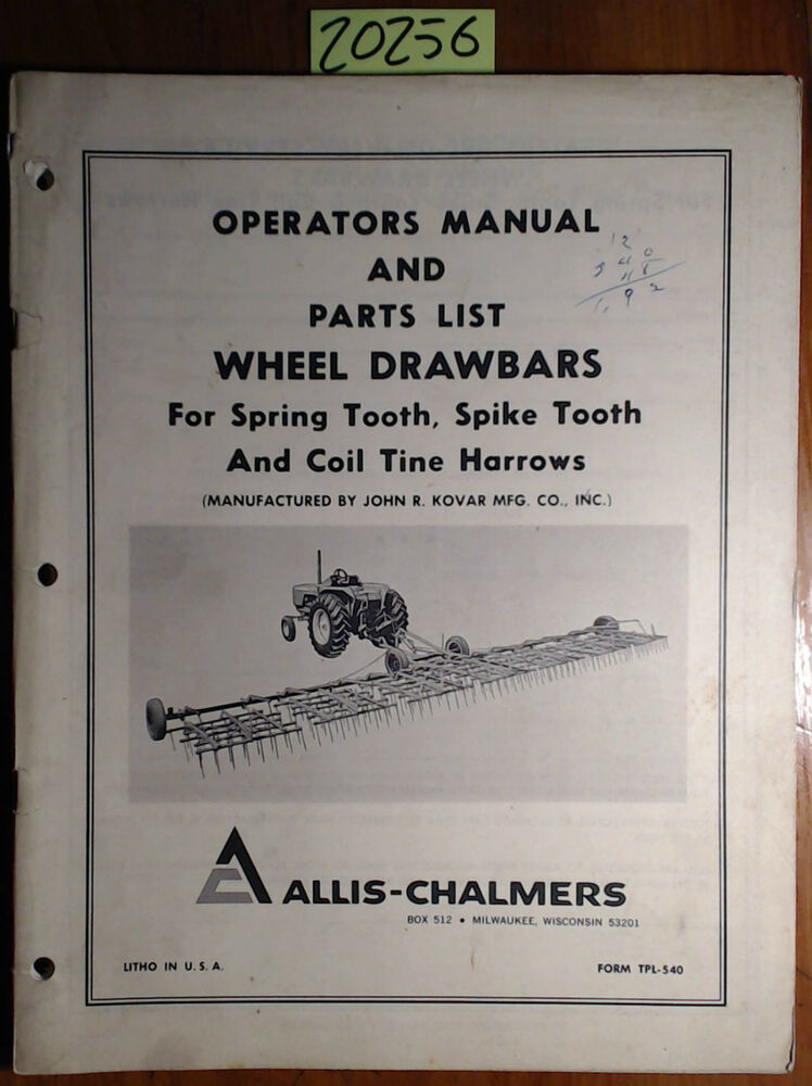 Allis Chalmers Wheel Drawbar For Spring Spike Tooth Amp Coil