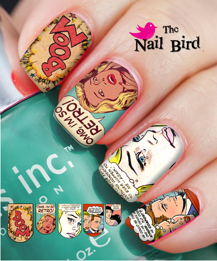 Nail Art Nail Decals Nail Transfers Natural/Acrylic Nails - RETRO ...