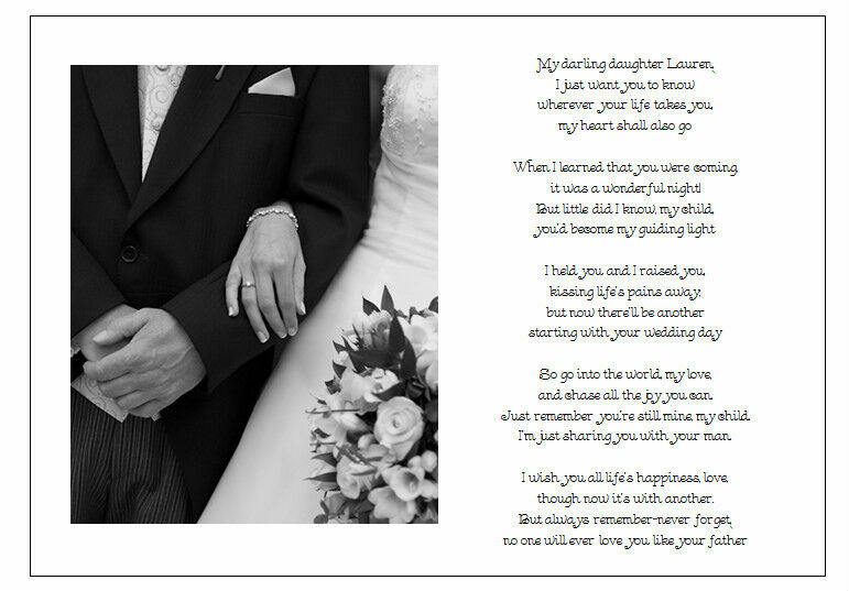 Gift For My Best Friend On His Wedding Day : Personalised Wedding Day Poem GiftFrom Father of Bride to Daughter ...