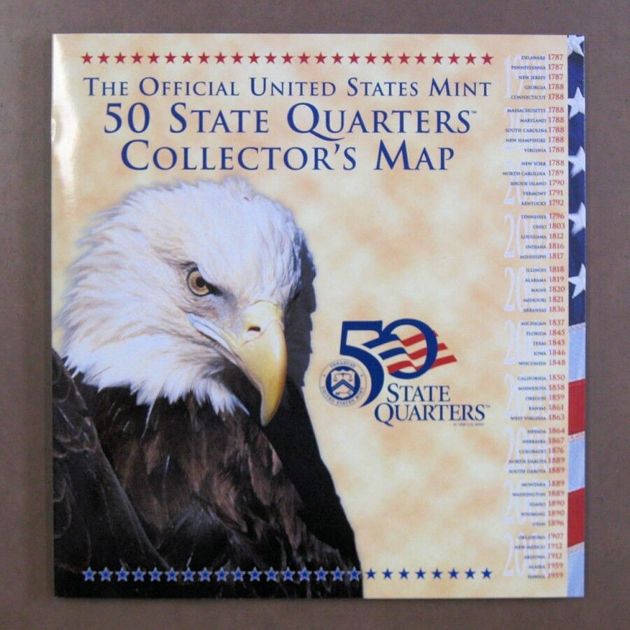 Official US Mint State Quarter Map For State Quarters EBay - Us map for collecting quarters