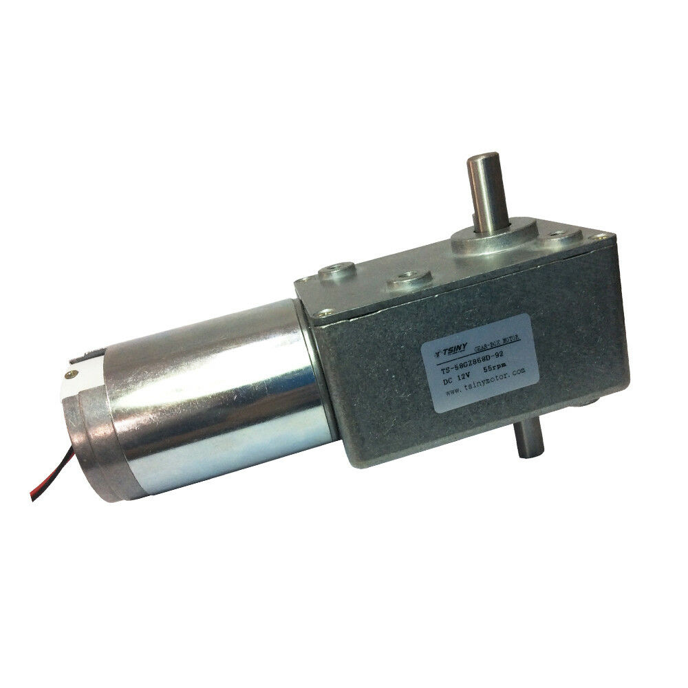 12vdc 55rpm dc worm geared motor double shaft gearbox
