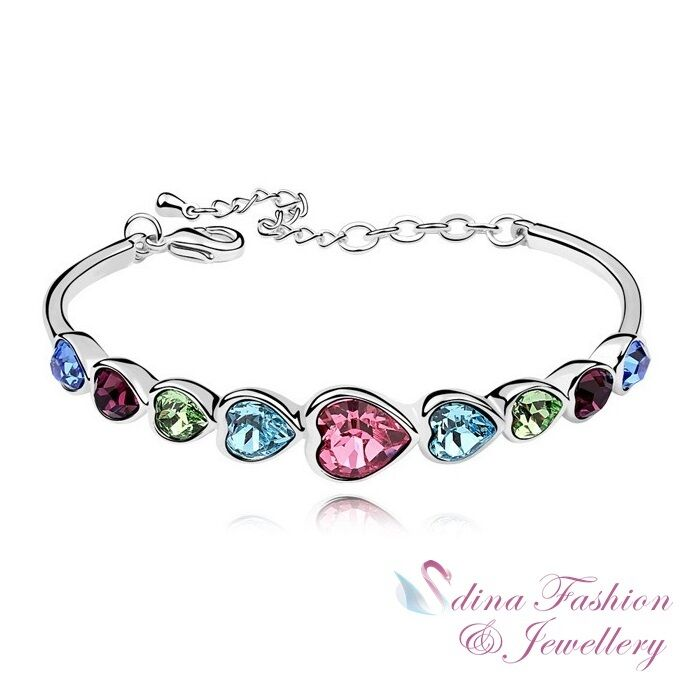 Bracelet With Hearts: 18K White Gold Plated Made With Swarovski Crystal