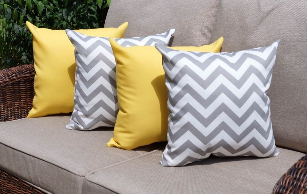 Throw Pillows Set Of 4 : Sundeck Yellow and Chevron Gray Outdoor Decorative Throw Pillow - Set of 4 eBay