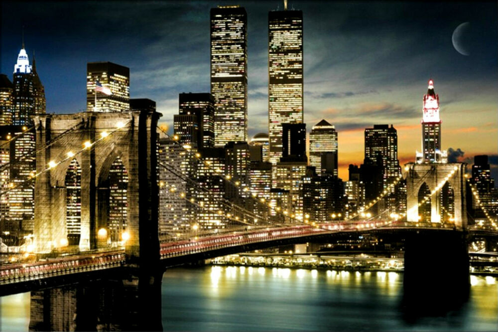 manhattan lights new york city skyline print poster art 36x24 91 5x61cm ebay. Black Bedroom Furniture Sets. Home Design Ideas