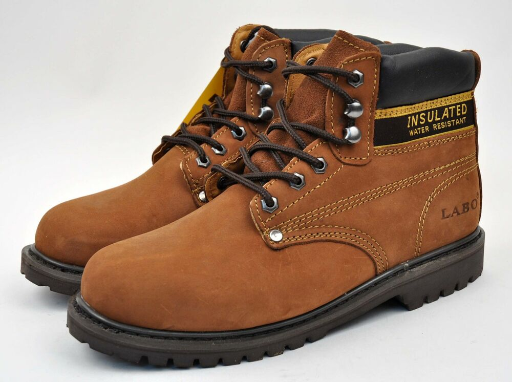 LABO Menu0026#39;s Brown Work U0026 Safety Boots Shoes Genuine Leather Sizes Wide (EW) 513 | EBay