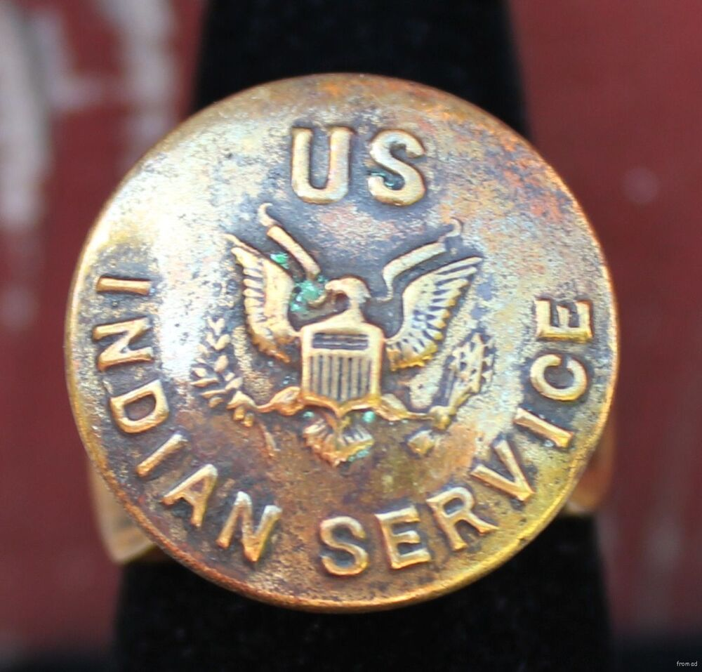 Antiques Us: Old Men's Ring W Antique Military Brass US Indian Service