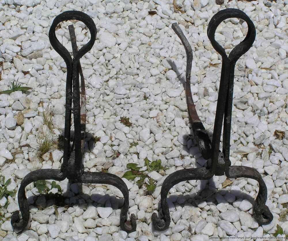 Antique Primitive Hand Forged Cast Iron Fireplace Andirons Ebay