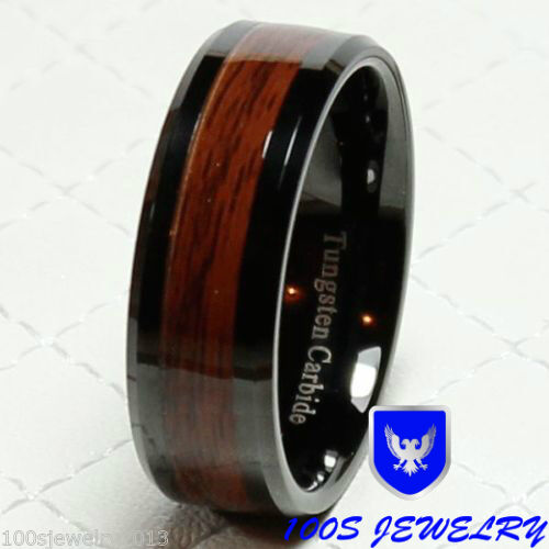 Wood Mens Wedding Bands: 8mm Men's Tungsten Carbide Red Wood Inlay Black Plat
