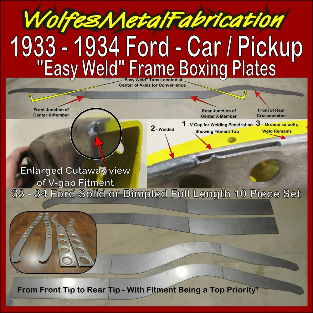 1933 1934 ford easy weld dimpled frame boxing plates 33 for 1934 ford floor pan