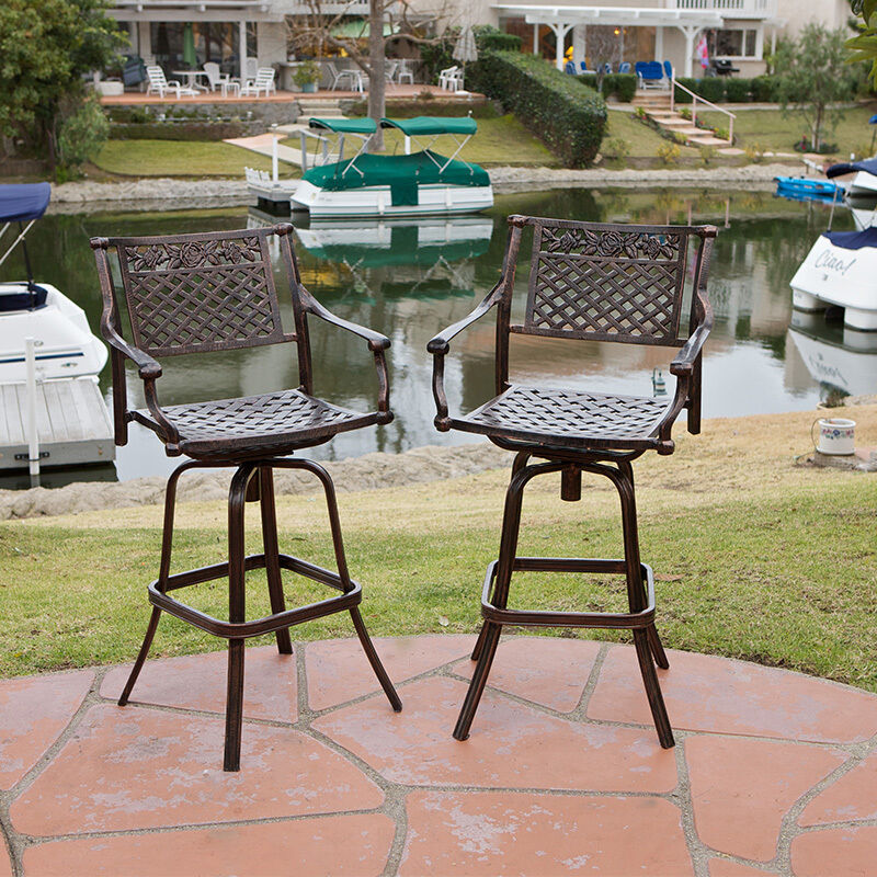 Outdoor Bar Stools ~ Set of outdoor patio furniture cast aluminum swivel bar