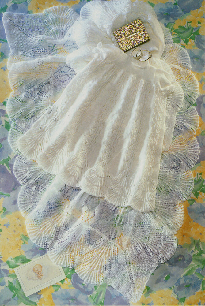Scalloped Lacy Baby Christening Shawl & Robe - 3 Ply ...