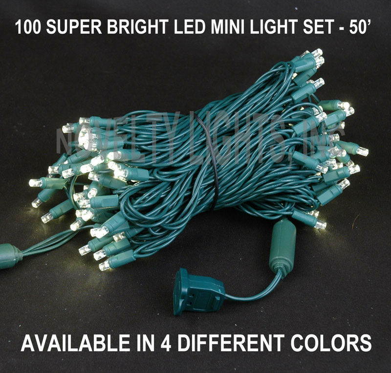 Clear String Mini Lights : 50 Foot LED Mini Light Outdoor String Light Set - 100 Light - Green Wire eBay