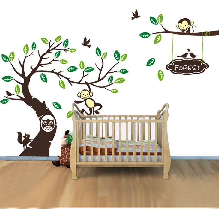 Diy Name Wall Art For Nursery : Personalised name monkey tree wall art stickers kids