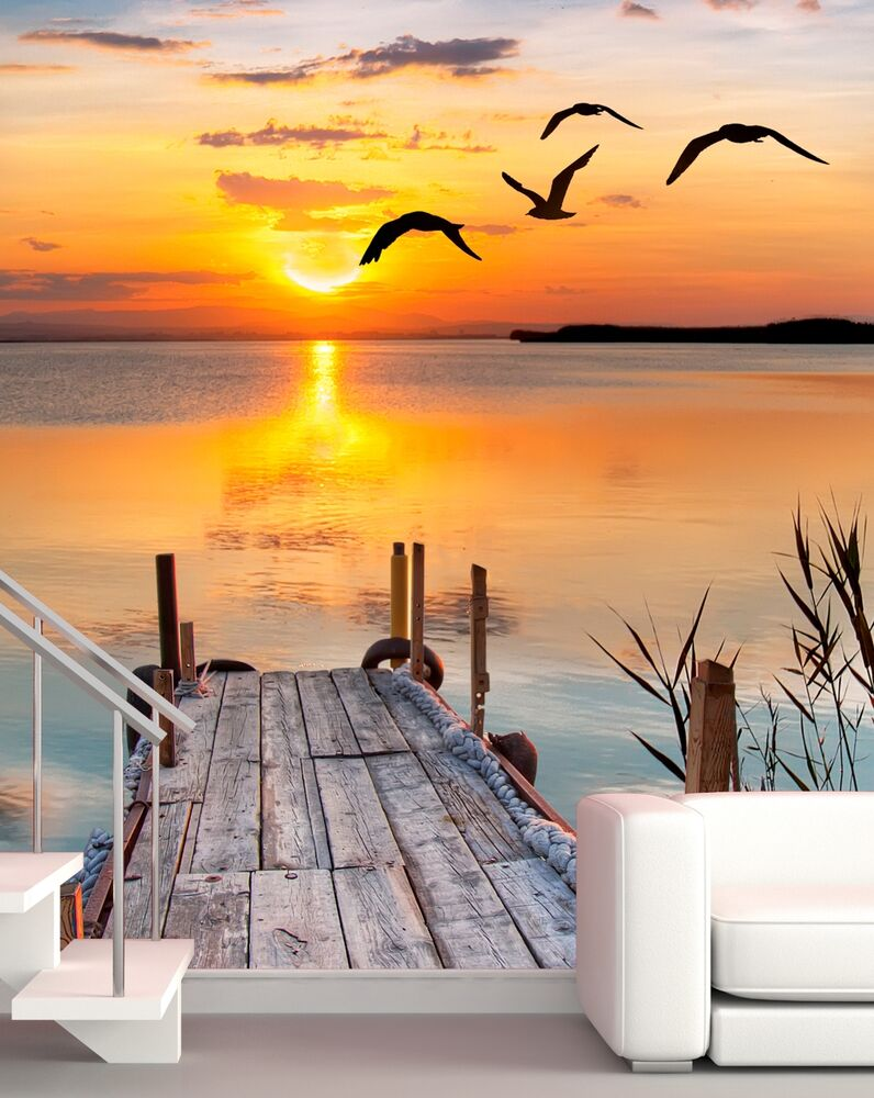 xxl poster fototapete vlies steg in der abendsonne selbstklebend oder normal ebay. Black Bedroom Furniture Sets. Home Design Ideas