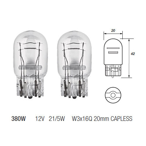 2 x 380w w21 5w capless brake stop tail light bulb 580. Black Bedroom Furniture Sets. Home Design Ideas