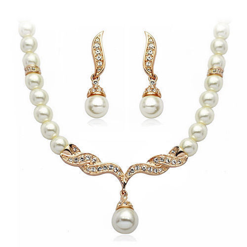 18k rose gold plated pearls necklace and earrings set with quality