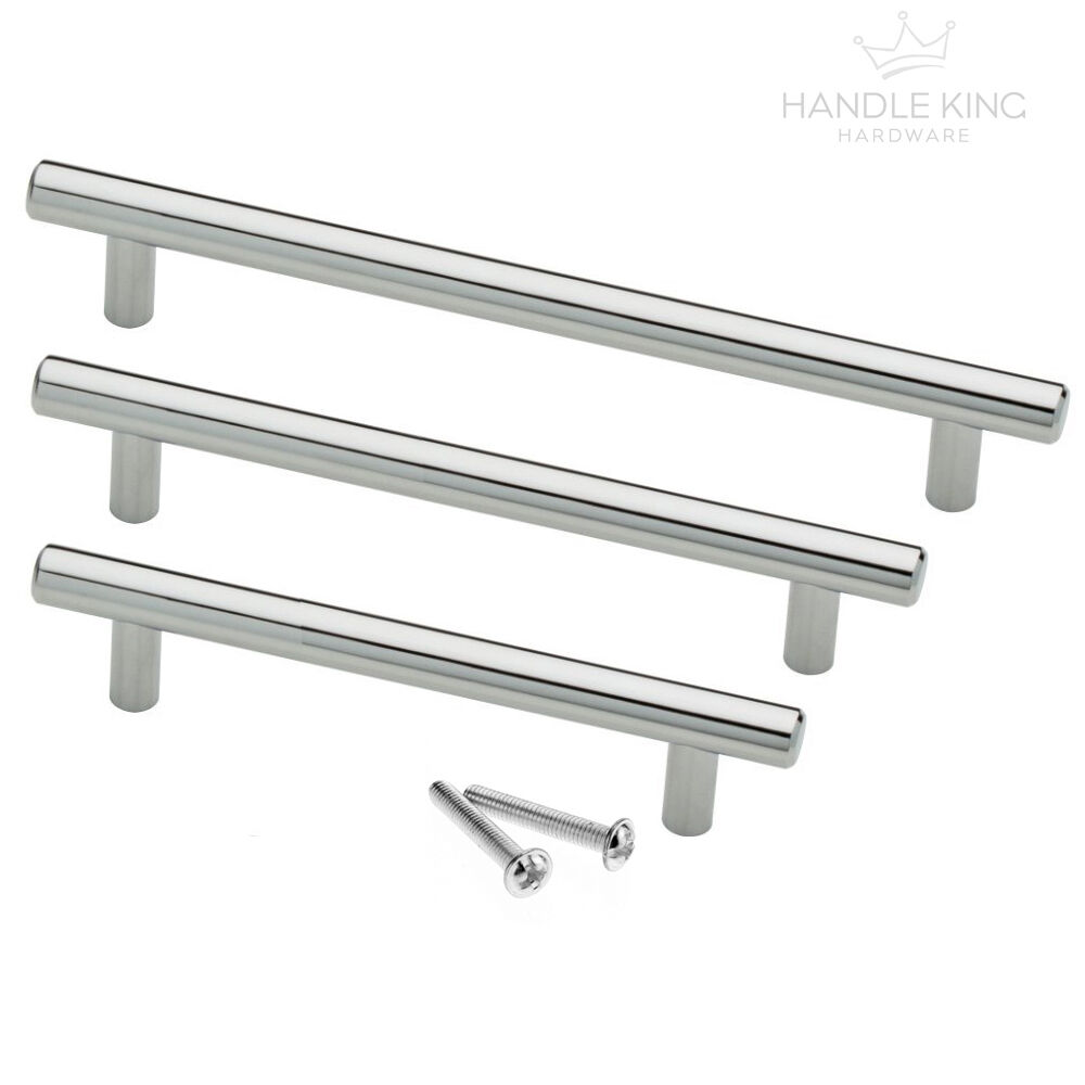T Bar Kitchen Cabinet Door Handle Polished Chrome Finish