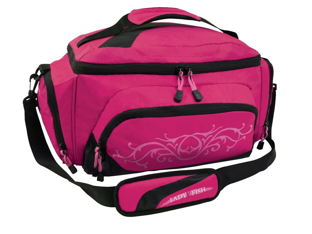 Lady fish girls women pink tackle bag w 4 large utility for Women s fly fishing gear