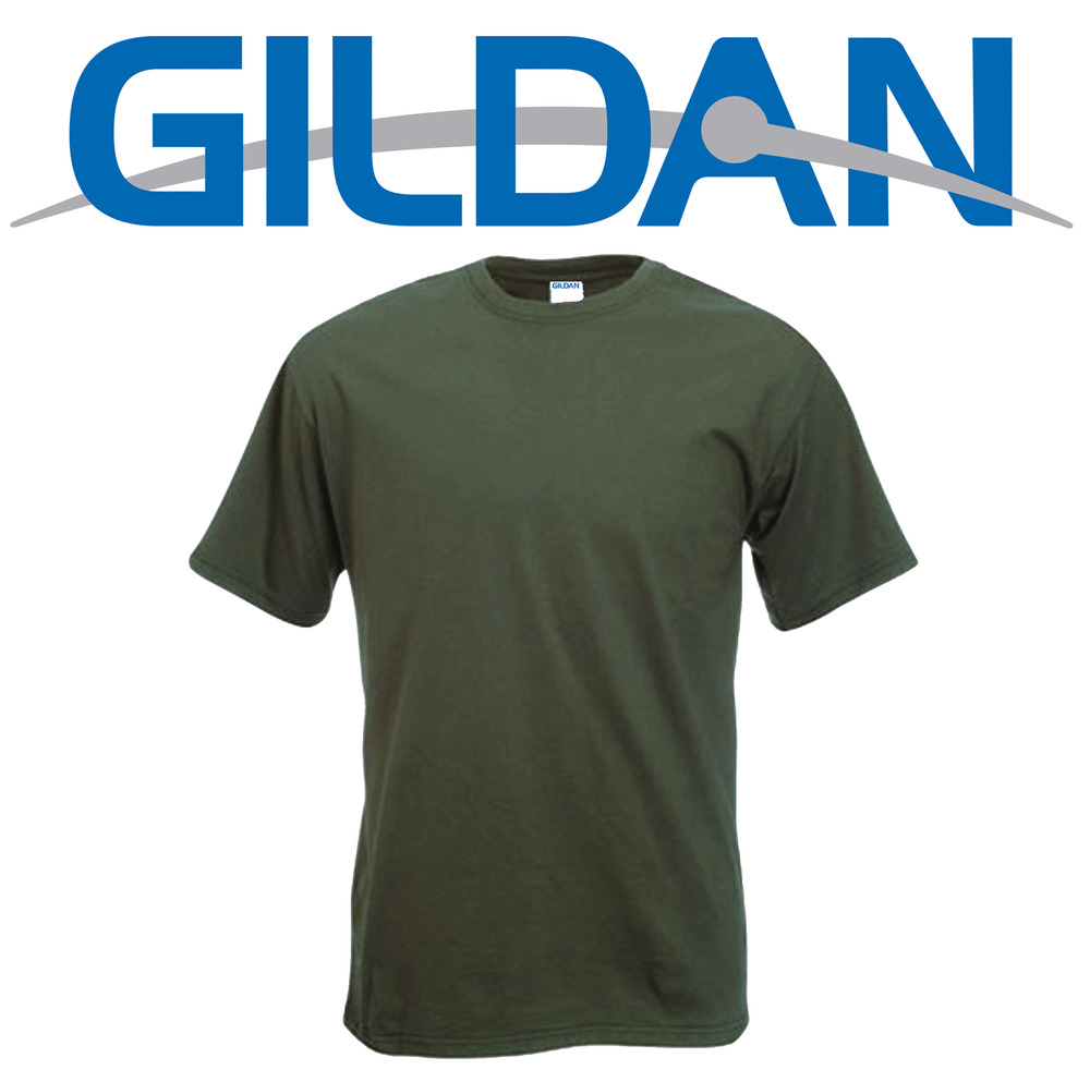 New military green gildan heavy t shirt olive camo army for Gildan camouflage t shirts