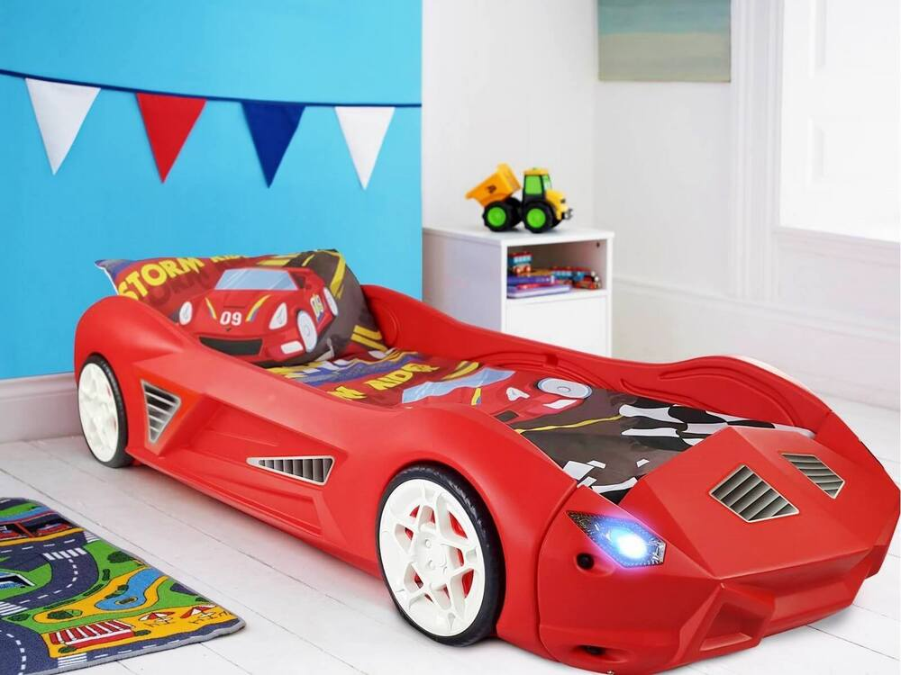 Cars Toddler Bed Set: Kids Storm Plastic Childrens Junior Racing Car Bed With