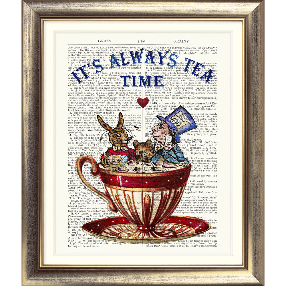 Art Print Antique Dictionary Book Page Mad Hatter Tea