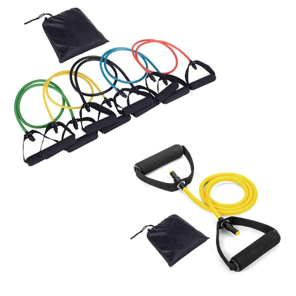 Resistance Bands Thigh Workout: Set Of 4 Leg Thigh Fitness Exercise Latex Tube Resistance
