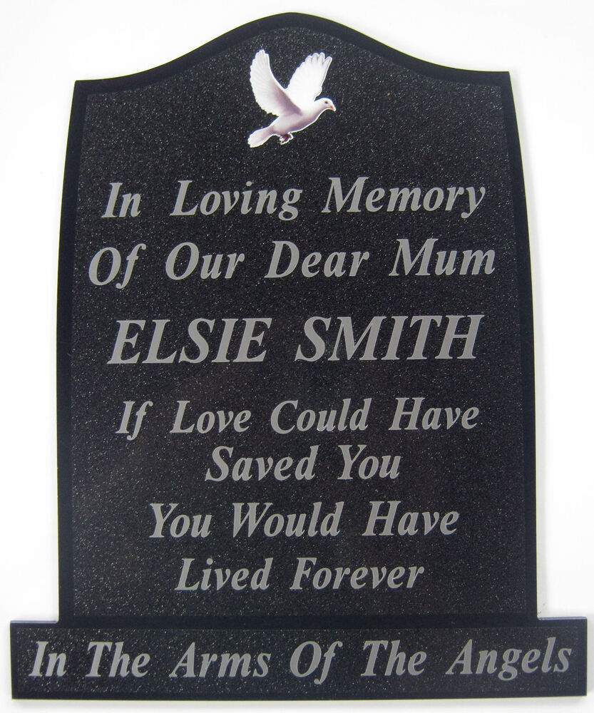 Memorial Plaque Grave Dove Personalised Own Words