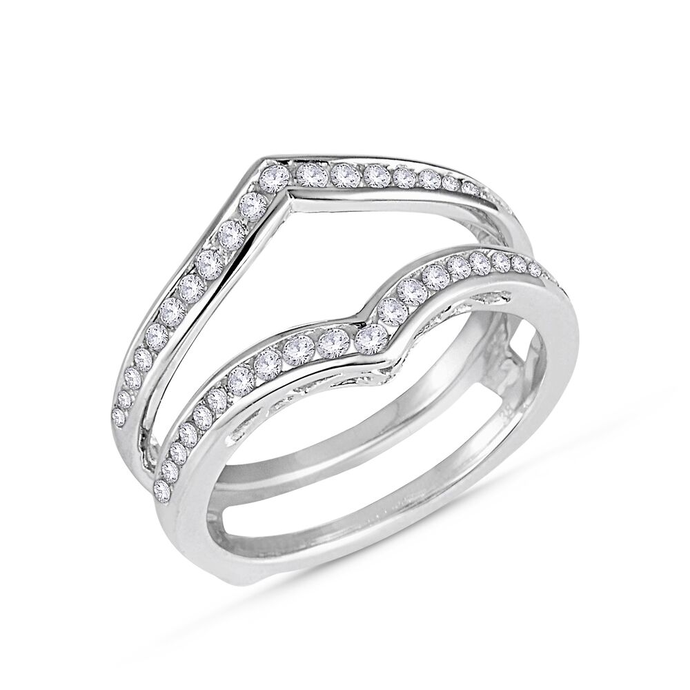 wedding wrap ring 1 2ct diamonds ring guard wrap 14k white gold 1220