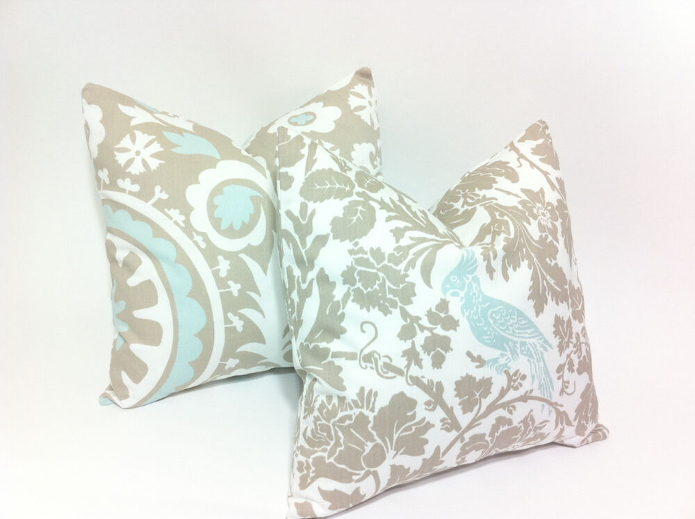 Throw Pillows Tan : Two Decorative Throw Pillows Tan Taupe Beige Light Blue Bird Suzani Print eBay