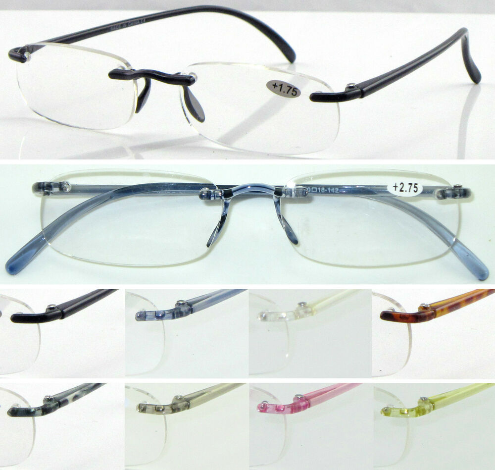 Super Lightweight Eyeglass Frames : L9 Rimless Reading Glasses/Super Lightweight Memory ...
