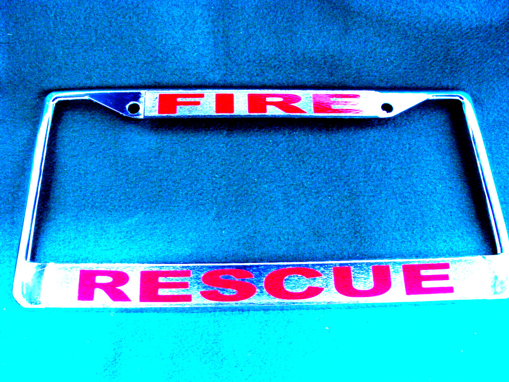 Fire Rescue License Plate Frame Chromed Cast Metal 811980