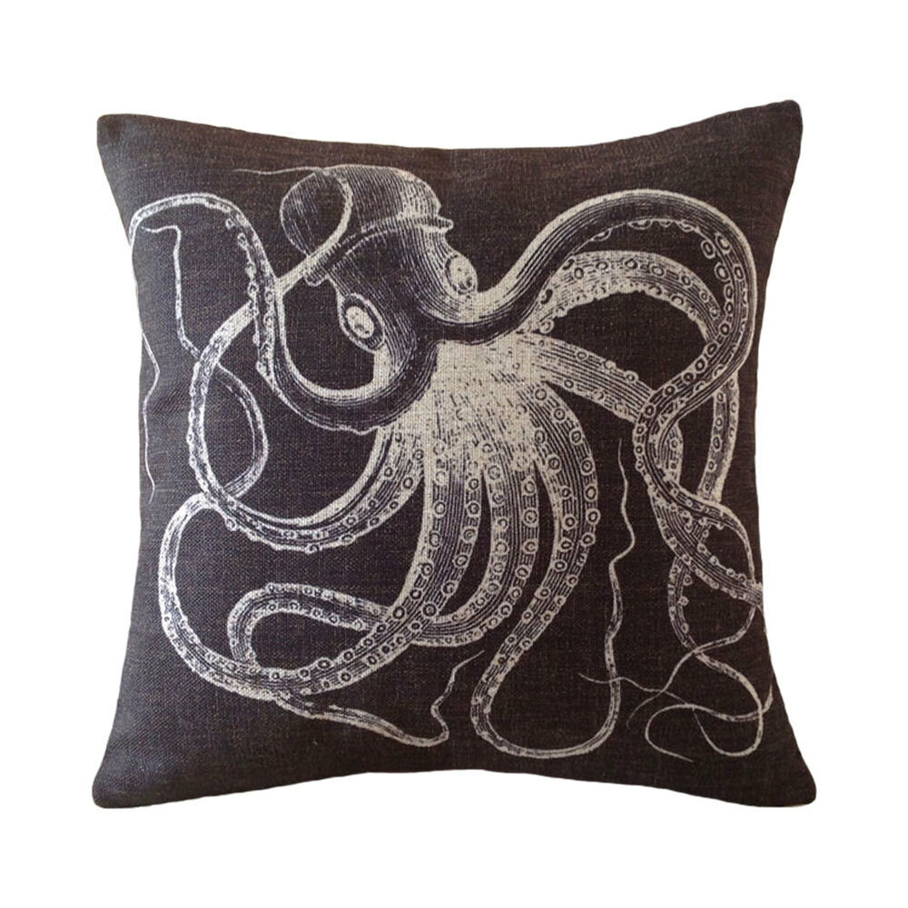 Decorative pillow cover linen black cool octopus animal for Cool couch pillows