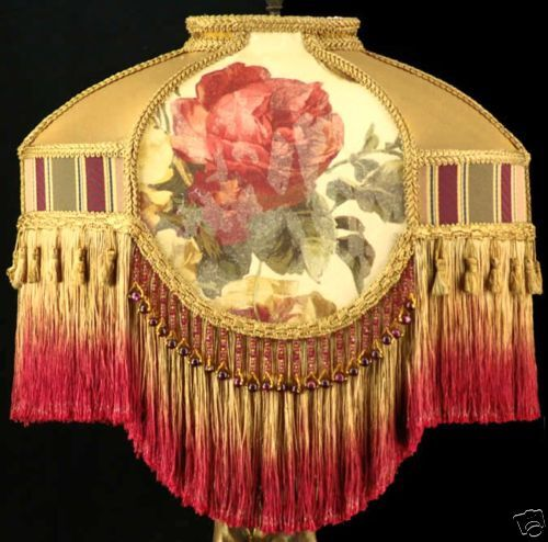 Victorian Lamp Shade Croscill Roses Fabric With Gold Silk