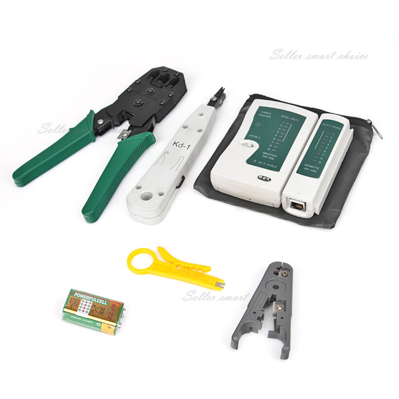 rj45 crimp punch down lan network cable tester stripper modular tool cat5 cat6 ebay. Black Bedroom Furniture Sets. Home Design Ideas