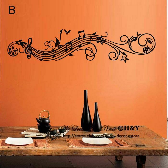 Music Musical Vine Flowers Notes Removable Wall Art Stickers Vinyl Decal Decor Ebay