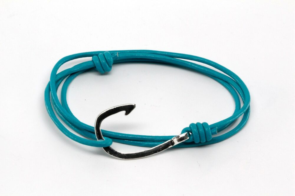 Handmade turquoise leather nautical rope cord silver fish for Leather fish hook bracelet