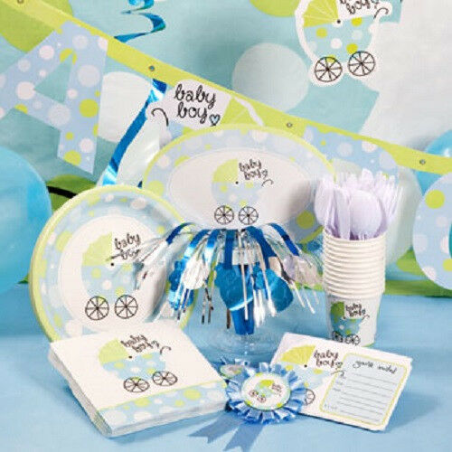 Boy baby carriage baby shower decorations ebay for Baby boy shower decoration kits