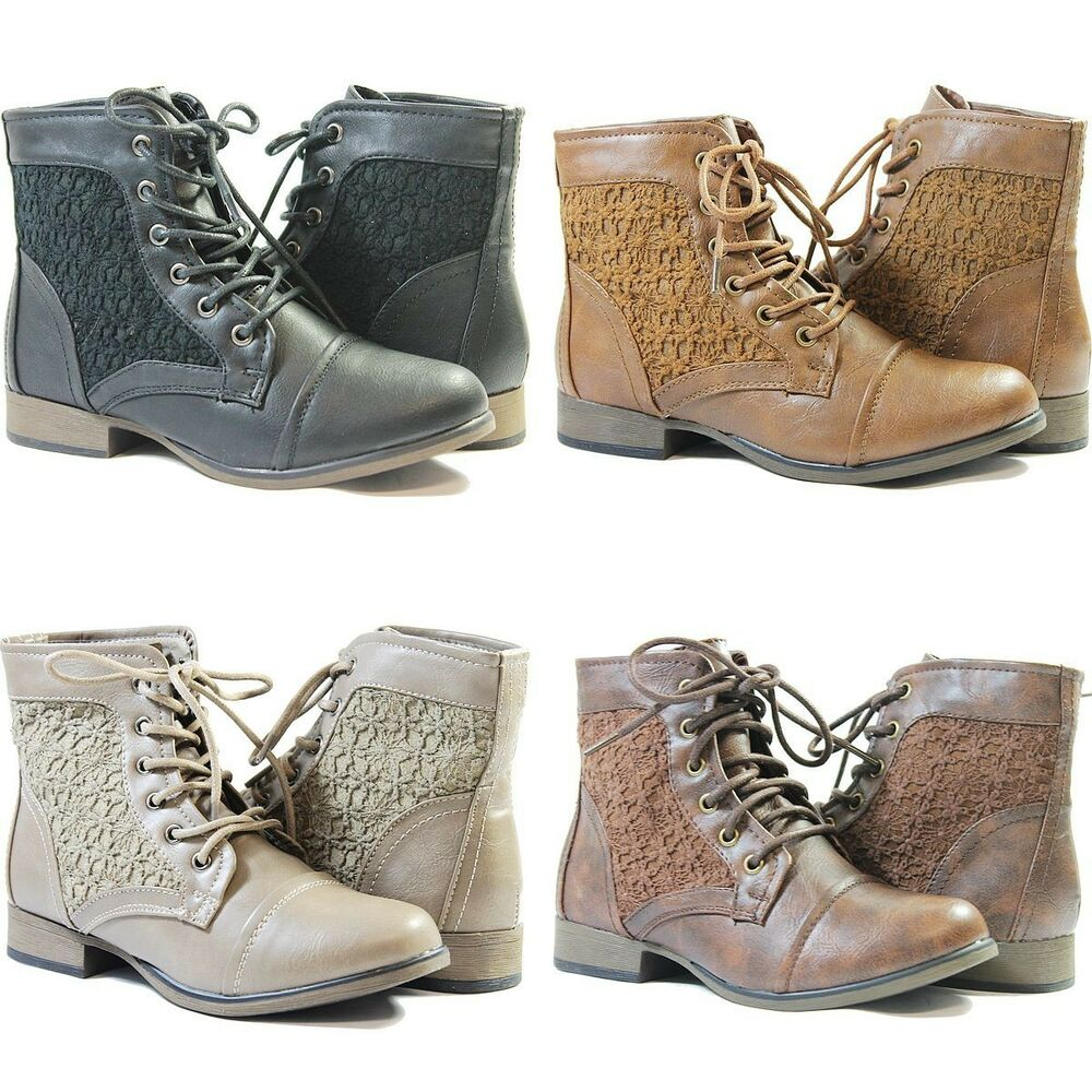 Women Combat Boots Ankle High New Fashion Cute Flower Lace Design ...