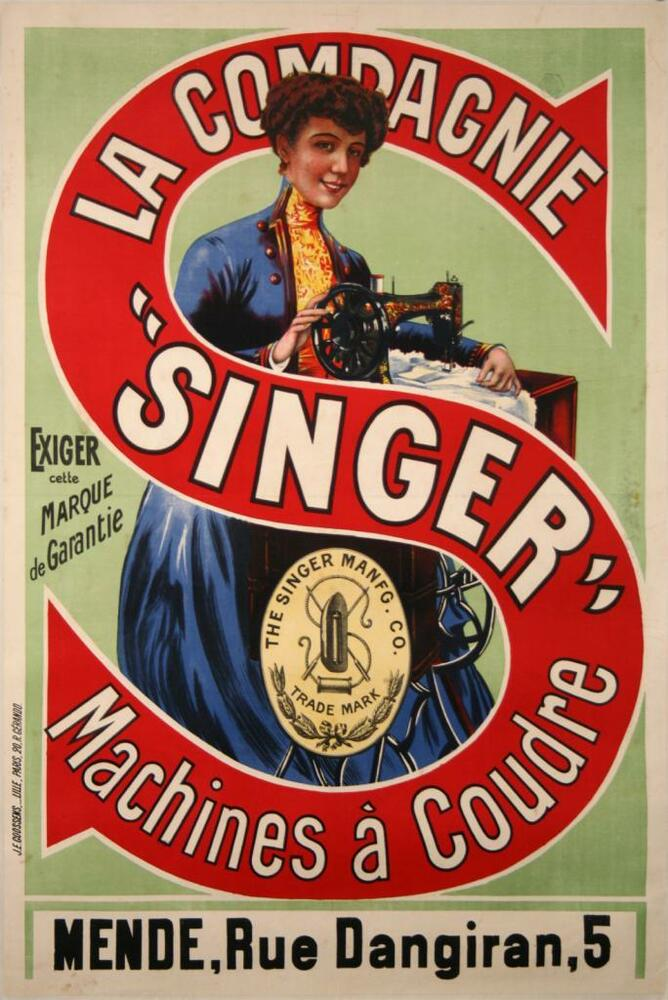 affiche ancienne machine a coudre singer vintage poster sewing machine mende ebay. Black Bedroom Furniture Sets. Home Design Ideas