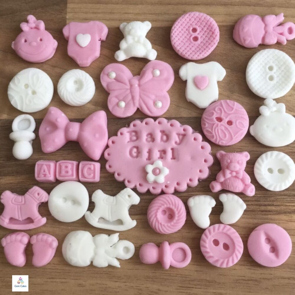 32 edible pink baby girl christening shower cake cupcake for Baby shower cupcake decoration