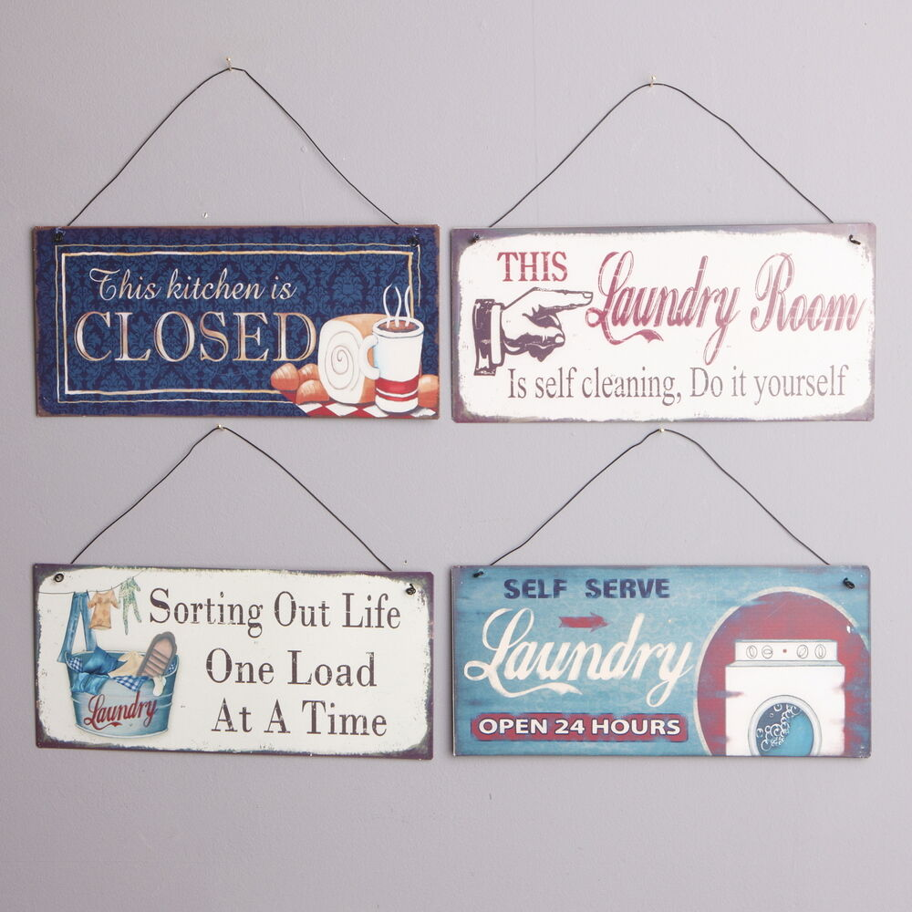 METAL SIGNS HANGING RETRO KITCHEN LAUNDRY CLEANING WASHING