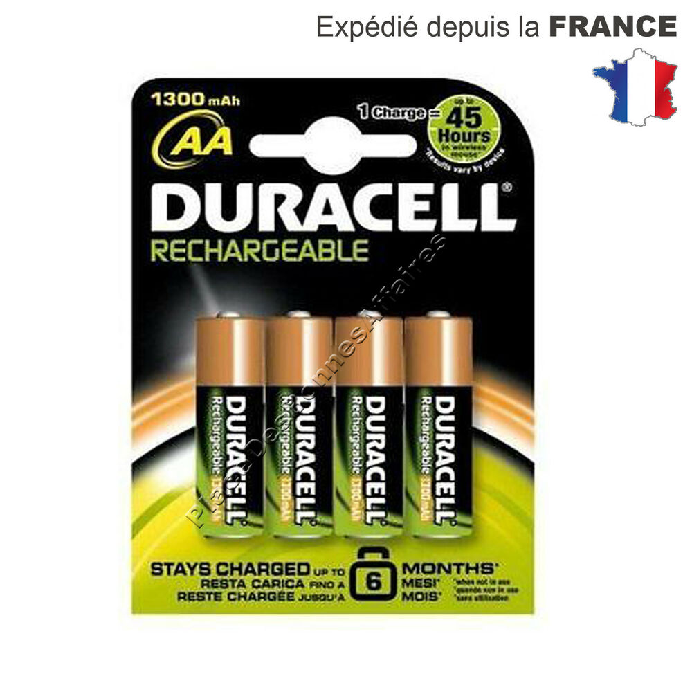 piles duracell accu rechargeable 1300mah lot de 4 lr06 aa ebay. Black Bedroom Furniture Sets. Home Design Ideas