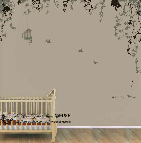 90 X 22 Large Vine Butterfly Wall Decals Removable: Bird Cage Vine Wall Stickers Wall Decal Removable Kids Art