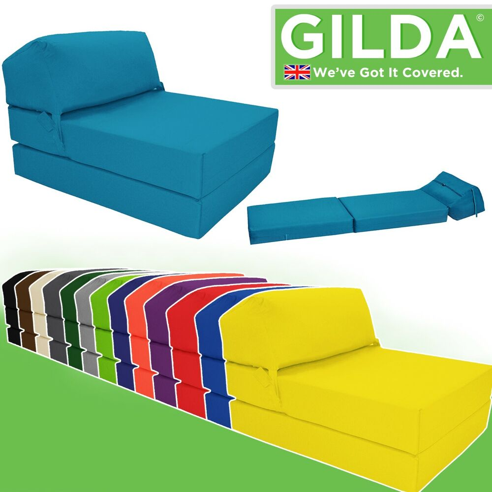 Single Chair Bed Z Guest Fold Out Futon Sofa Chairbed Matress foam Gilda
